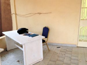 A desk where Nordehn sat to work in Niger in 2017.